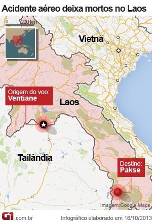 mapa acidente aéreo laos (Foto: Arte/G1)