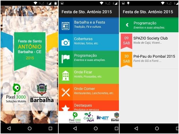 """Aplicativo """"Festa de Santo Antônio Barbalha"""" permite rastreamento do Pau da Bandeira e outras utilidades. (Foto: Pixel 3000 mobile)"""