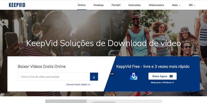 KeepVid tem um campo para colar a URL e baixar o vídeo do YouTube (Foto: Reprodução)