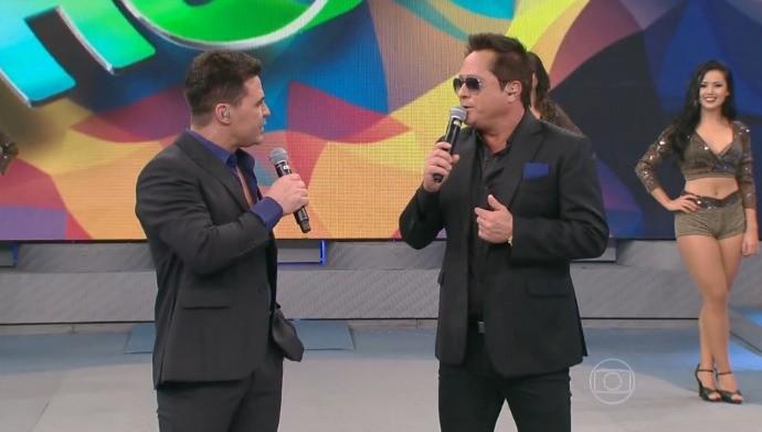 Goiano esteve ao lado de Eduardo Costa apresentando o show Cabaré  (Foto: Rede Globo/Domingão do Faustão)