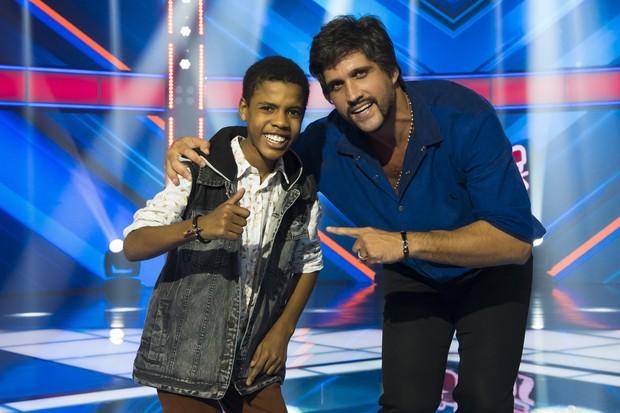 Juan Carlos Poca com seu técnico, Léo (Foto: Globo/César Alves)
