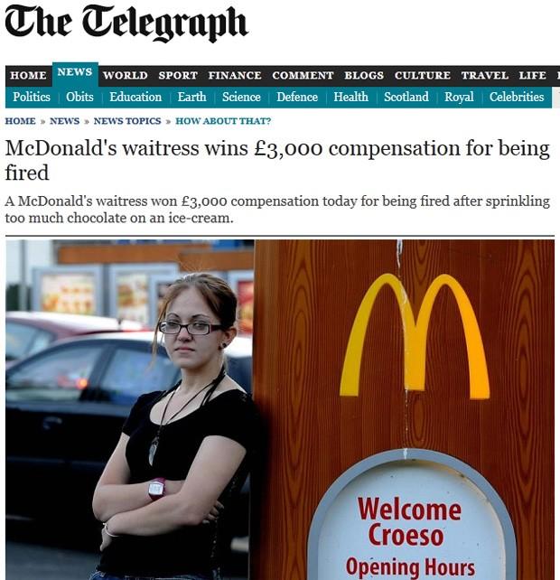 Funcionária 'caprichou na cobertura' e foi demitida por roubar comida (Foto: Reprodução)