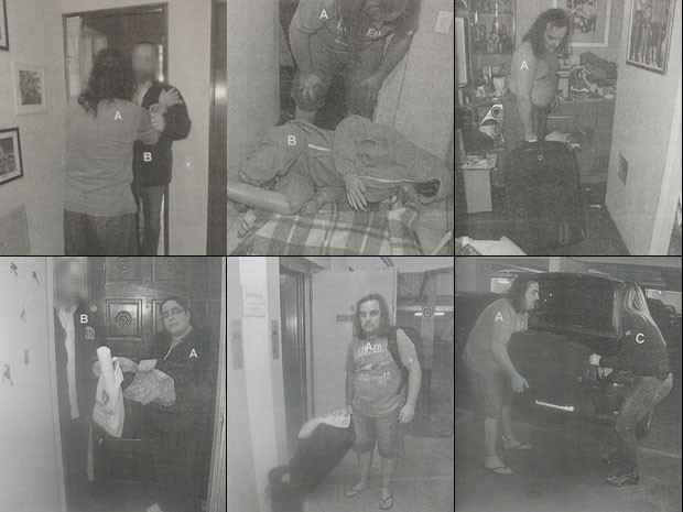 Algumas das 337 fotos da reconstituição do assassinato do zelador Jezi de Souza; nas imagens, o casal Martins dá sua versão para o crime (Foto: Reprodução)