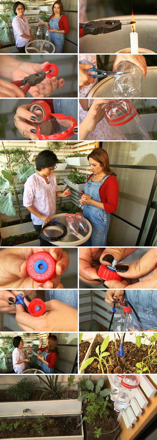 Para sair em viagem, Rosana Aoki inventou uma forma de manter irrigada a pequena horta da varanda do apartamento. (Foto: Ricardo Custódio/TG)
