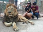 Mulher Melancia faz carinho em leão em zoológico na Argentina
