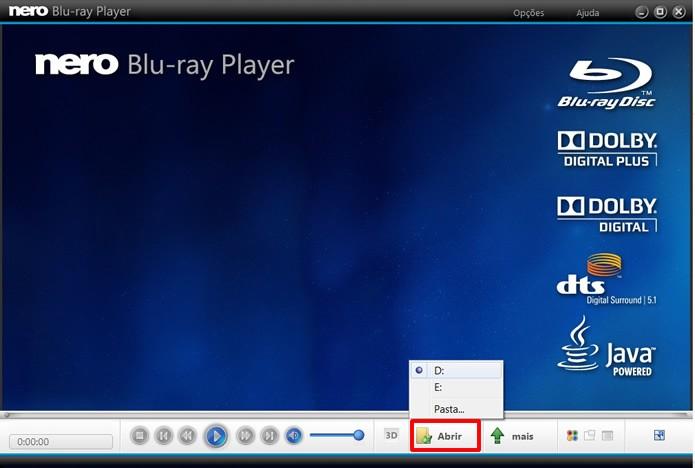 Aperte Abrir para selecionar a mídia em Blu-ray que será executada pelo Nero Blu-ray Player (Foto: Reprodução/Daniel Ribeiro)