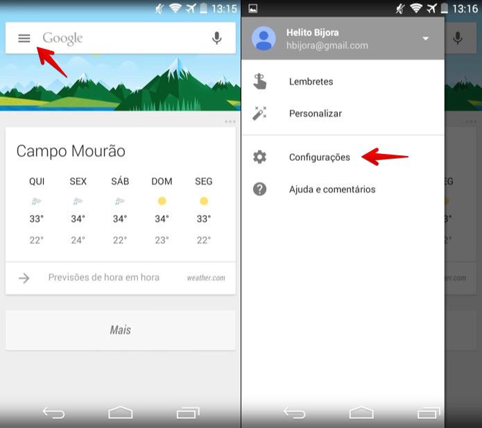 Acesse as configurações do Google Now (Foto: Reprodução/Helito Bijora)