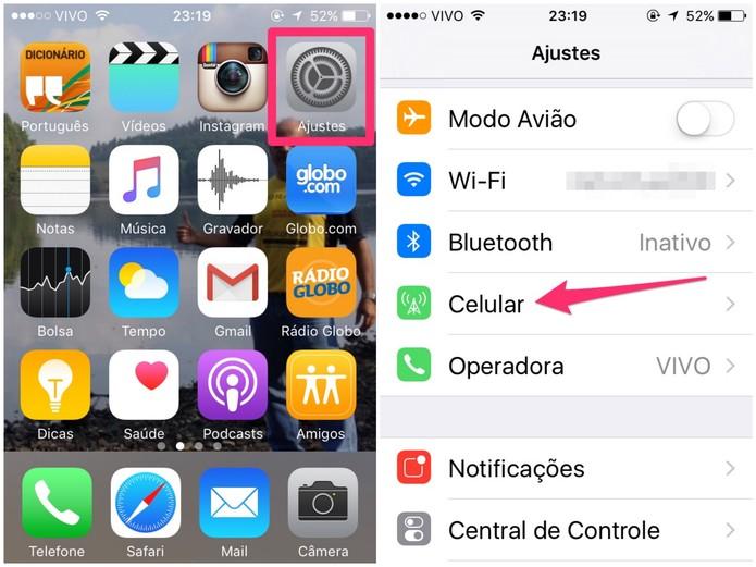Acesse as configurações do iPhone (Foto: Reprodução/Lucas Mendes)