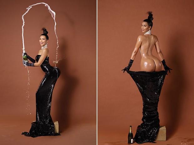 Kim Kardashian em polêmicas fotos de capa da revista 'Paper' em novembro de 2014 (Foto: Divulgação)