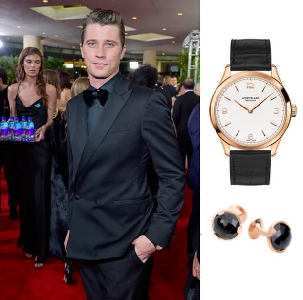 O ator Garrett Hedlund usou um Montblanc Heritage Chronometrie Ultra Slim com abotoaduras da marca no Globo de Ouro (Foto: Divulgação)