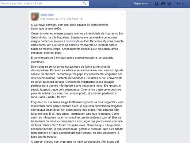 Jovem relata em rede social assédio e descaso que teria sofrido em bar de Pinheiros na quarta-feira (4) (Foto: Reprodução/Facebook)