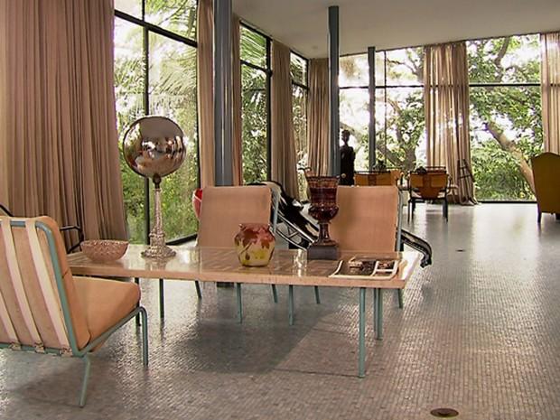 Casa de Vidro, no Morumbi, Zona Sul de São Paulo, projeto da arquiteta Lina Bo Bardi (Foto: Reprodução TV Globo)