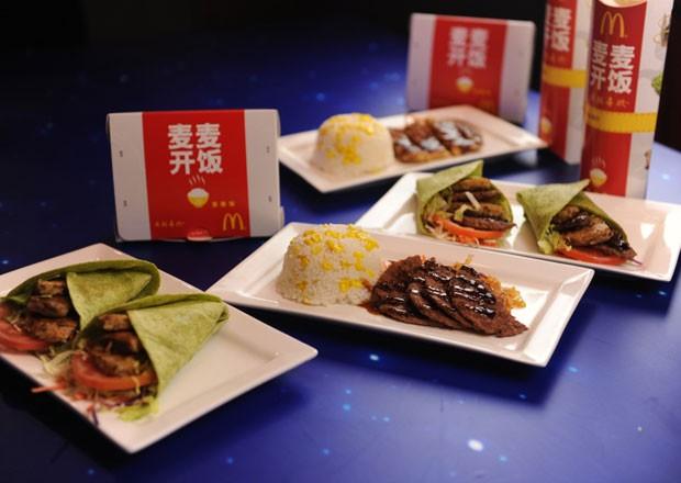 McDonald's começou a vender opções de pratos com arroz nas lojas da China (Foto: Divulgação)