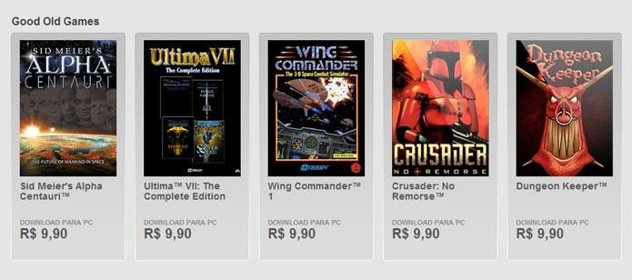 Jogos clássicos disponíveis no Origin (Foto: Reprodução)