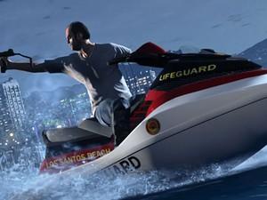 Cena de ação de 'GTA V' mostra um dos novos personagens (Foto: Divulgação)