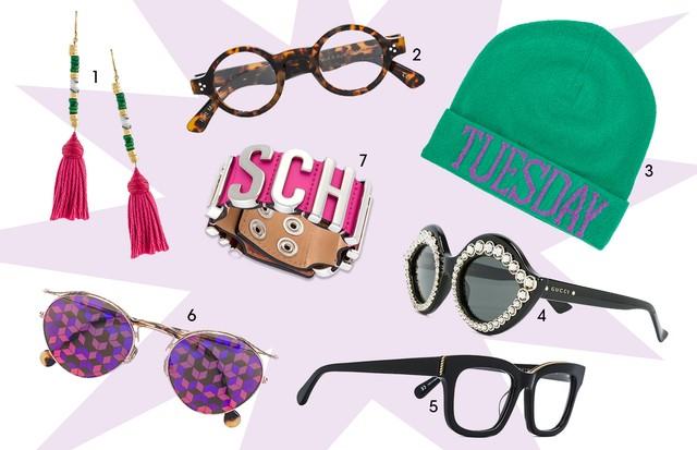 1. Aurelie Bidermann (R$ 1.510) 2. Lesca (R$ 1.650) 3. Alberta Ferretti (R$ 850) 4. Gucci Eyewear (R$ 3.920) 5. Stella McCartney (R$ 1.840) 6. Dior Eyewear (R$ 3.530) 7. Moschino (R$ 1.100) (Foto: Reprodução)