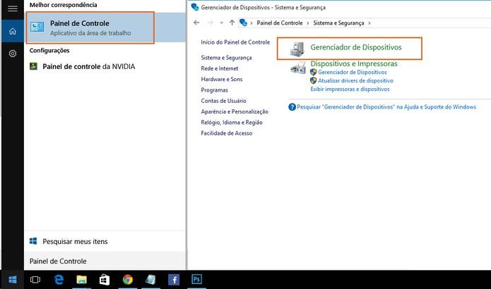 Acesse o Gerenciador de Dispositivos no Painel de Controle do Windows 10 (Foto: Reprodução/Barbara Mannara)