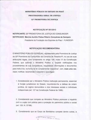Laudo recomendatório do MP sobre o Albertão, no Piauí (Foto: Reprodução)