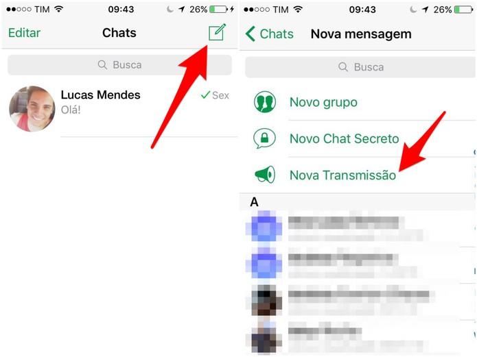 Clique para começar uma nova conversa e, depois, toque em Nova Transmissão (Foto: Reprodução/Lucas Mendes)