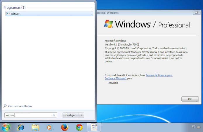 Verificando a versão do Windows com o comando winver (Foto: Reprodução/Edivaldo Brito)
