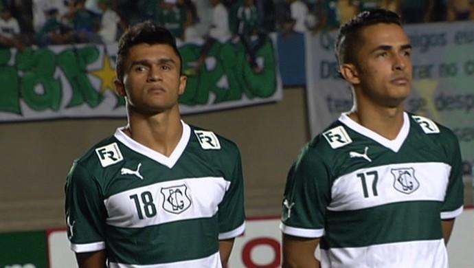 Amaral, Erik  Esquerdinha, jogadores do Goiás (Foto: Reprodução/TV Anhanguera)