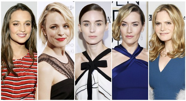 Nomeadas a melhor atriz coadjuvante do Oscar 2016: Alicia Vikander ('Ex-Machina'), Rachel McAdams ('Spotlight'), Rooney Mara ('Carol'), Kate Winslet ('Jobs') e Jennifer Jason Leigh ('Os Oito Odiados'). (Foto: Reuters)