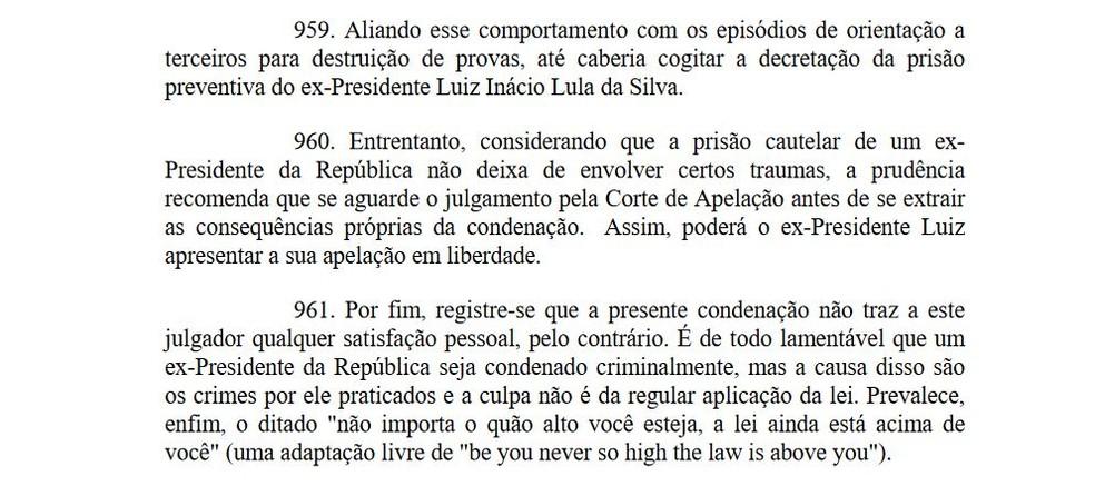 Moro determina que Lula possa recorrer em liberdade (Foto: Reprodução)