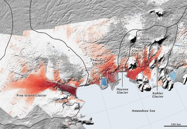 Mapa das geleiras no Mar de Amundsen, na Antártica. As áreas em vermelho mostram onde a retração está mais acelerada (Foto: Nasa)