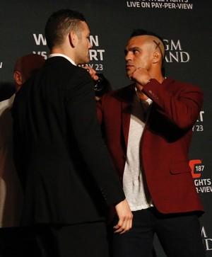 Vitor Belfort Chris Weidman encarada media day UFC 187 (Foto: Evelyn Rodrigues)