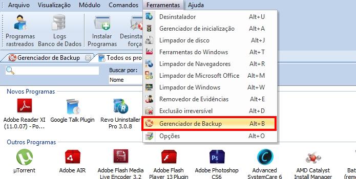 Abra a lista de backups (Foto: Reprodução/Paulo Alves)