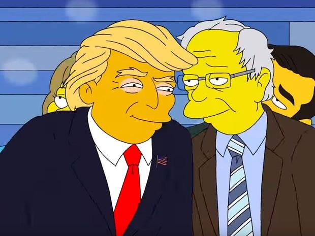 Donald Trump e Bernie Sanders se abraçam em cena de 'Os Simpsons' (Foto: Reprodução/Youtube)
