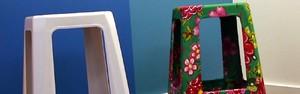 Faça você mesmo um banco de plástico decorado com tecido (Reprodução/ZAP)
