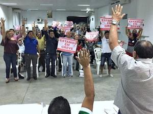 Greve dos bancários do amazonas foi estabelecida em assembleia (Foto: Divulgação/Seeb-AM)