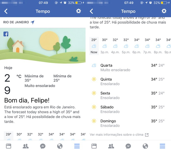 Como configurar e ver a previsão do tempo no Facebook de celular (Foto: Reprodução/Felipe Vinha)