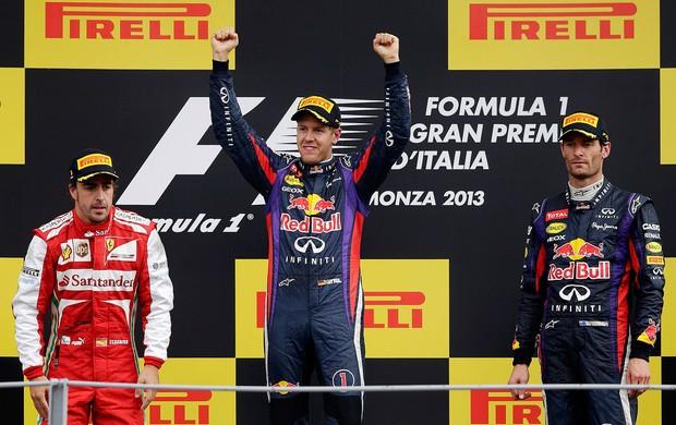 pódio gp da itlália Vettel fernando alonso e Mark Webber  (Foto: Agência Reuters)