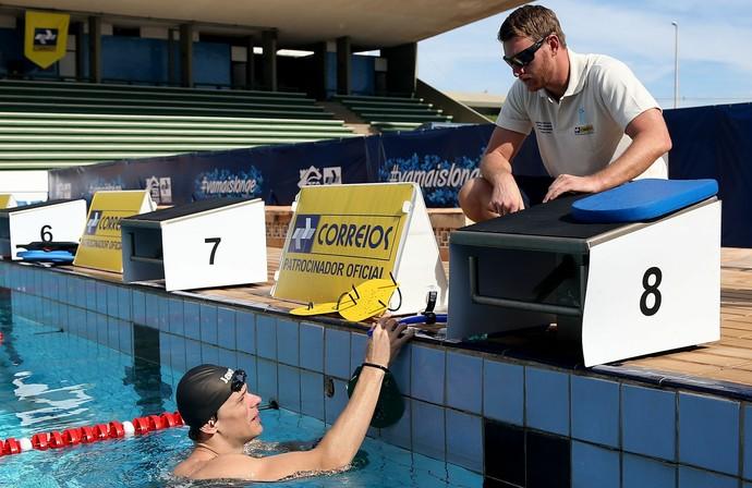 Cesar Cielo e Scott Goodrich treino 2013 (Foto: Satiro Sodré / SSPress)