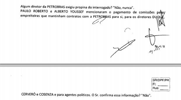 Trecho da transcrição de depoimento do ex-presidente da Queiroz Galvão Ildemar Colares Filho à Polícia Federal (Foto: Reprodução/Justiça Federal do Paraná)