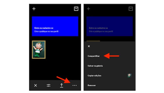 Acessando as opções de compartilhamento do VSCO Cam para Android (Foto: Reprodução/Marvin Costa) (Foto: Acessando as opções de compartilhamento do VSCO Cam para Android (Foto: Reprodução/Marvin Costa))