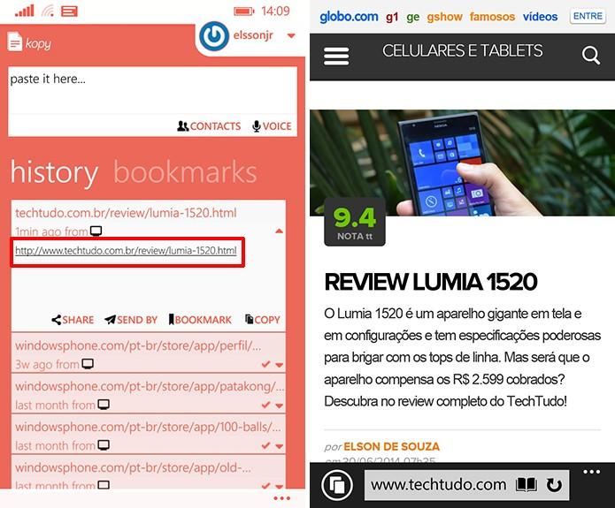 Kopy mostra histórico de links e mensagens trocadas entre computador e smartphone (Foto: Reprodução/Elson de Souza)
