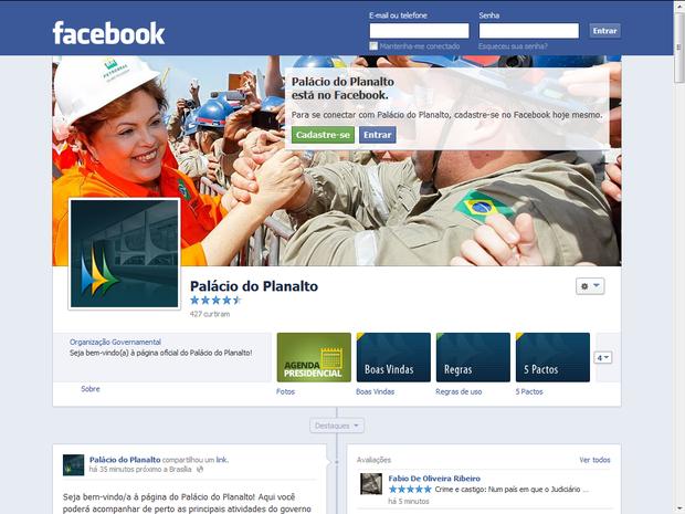 Página do perfil do Palácio do Planalto no Facebook (Foto: Reprodução/Facebook)