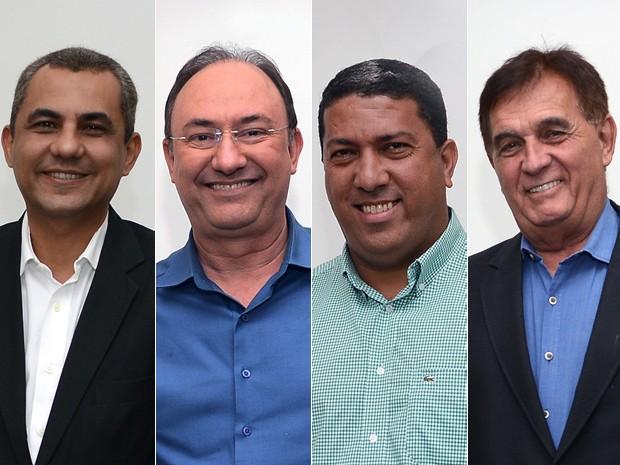 Candidatos à Prefeitura de São Gonçalo (da esq à dir): Marlos Costa (PSB), Neilton Mulim (PR), Dejorge Patrício (PRB) e Dr Dilson Drumond (PSDB) (Foto: Alexandre Durão/G1)