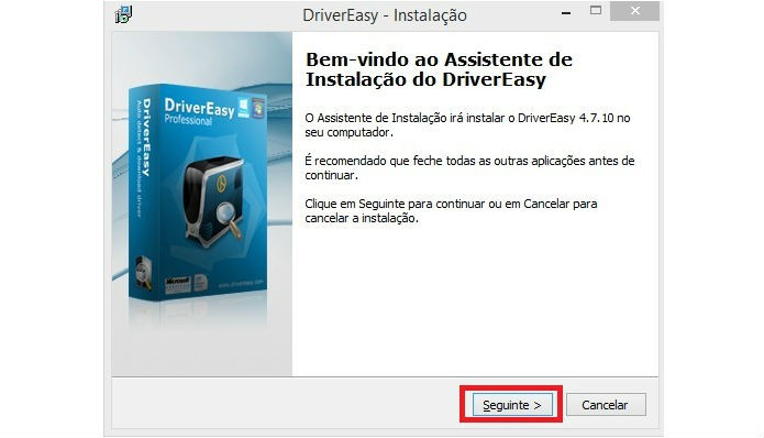 Execute o instalador do DriverEasy