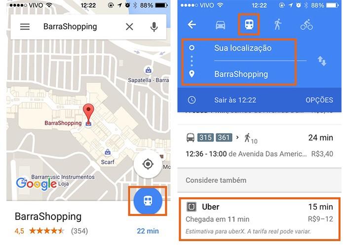 Selecione o item de transporte público e se necessário edite o local de origem para acessar o item do Uber (Foto: Reprodução/Barbara Mannara)