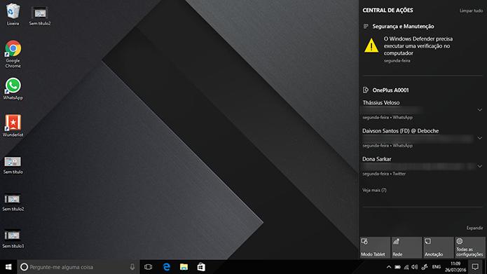 Windows 10 tem nova central com notificações do Android e passará a exigir 2 GB de RAM (Foto: Reprodução/Elson de Souza)