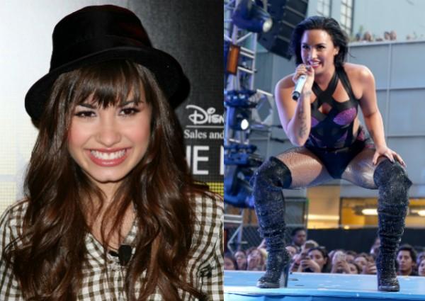 Demi Lovato em 2008 e durante uma apresentação recente (Foto: Getty Images/Reprodução)