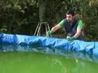 Agentes encontram dezenas de garrafas PET com água em piscina