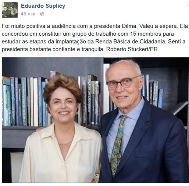 Foto de Dilma e Suplicy publicada na página do ex-senador no Facebook (Foto: Reprodução/Facebook)