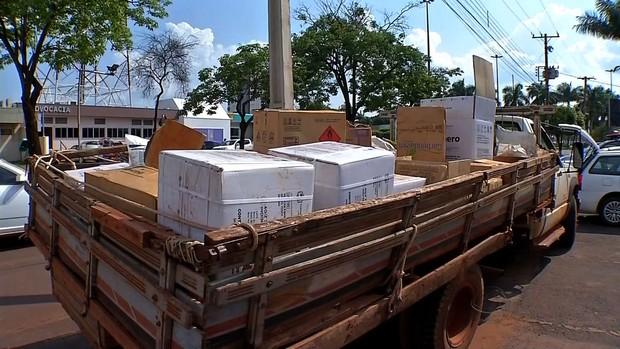 Três são presos por furto de carga de agrotóxico avaliada em R$ 120 mil (Reprodução/TVCA)