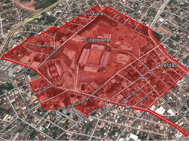 A área em vermelho estará fechada para o trânsito de veículos no dia do jogo. (Foto: Divulgação/Secopa)