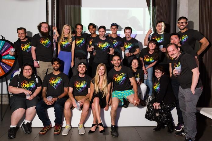 Equipe do Hello, rede social do fundador do Orkut em evento interno de lançamento (Foto: Divulgação/Hello)